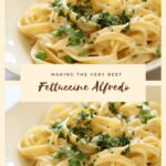Collage of Fettuccine Alfredo