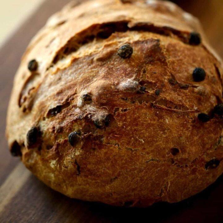 No Knead Raisin Bread on a Board