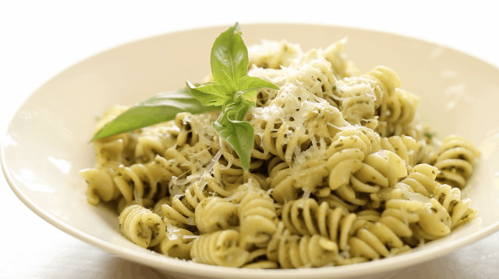 Bowl of Pesto Pasta with Parmesean CHeese