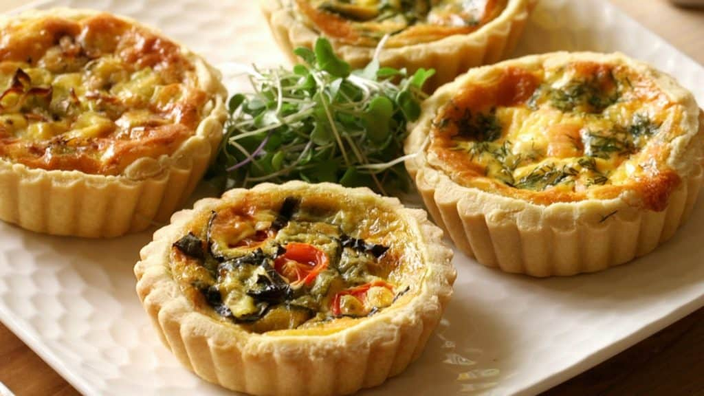 Platter of baked mini quiche