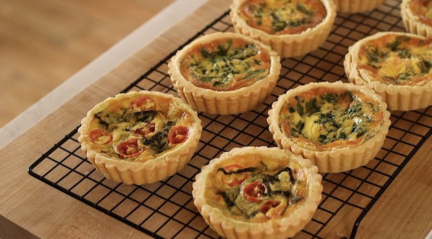 Mini Quiche cooking on wire rack
