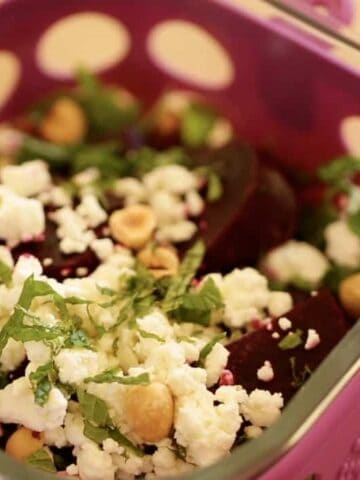 Roasted Beet SAlad with Goat Cheese and Hazelnuts