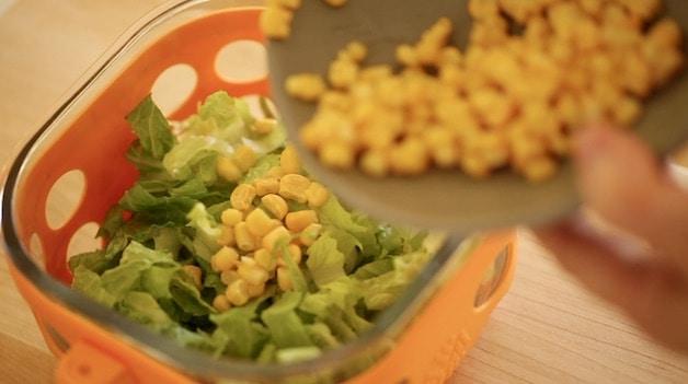 adding frozen corn to romaine lettuce