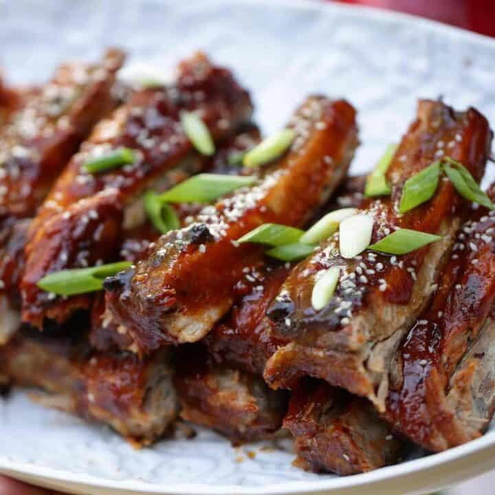 A platter of BBQ ribs that were made in the oven