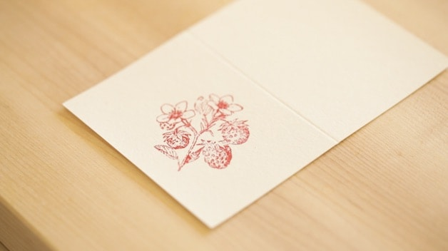 gift card with strawberry plant stamp image