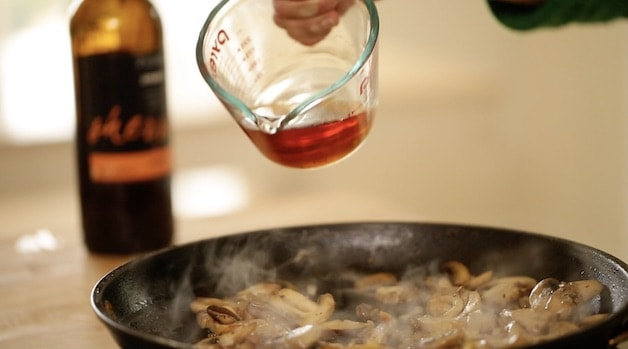 adding sweet sherry to sauteed mushrooms