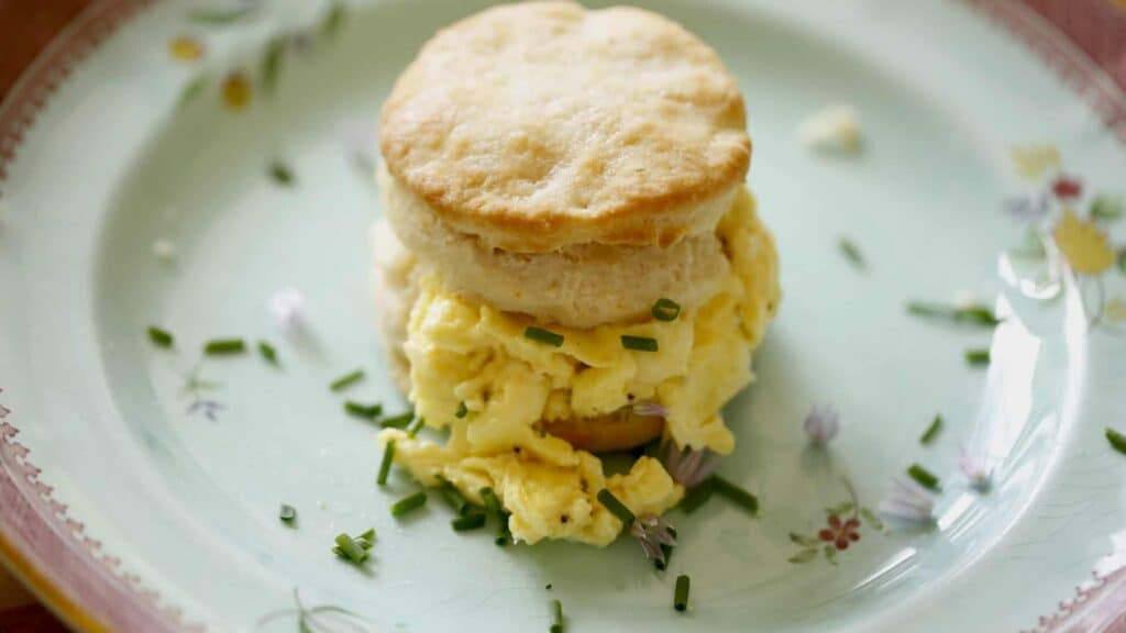 Buttermilk Biscuit Sandwich with Soft Scrambled Eggs