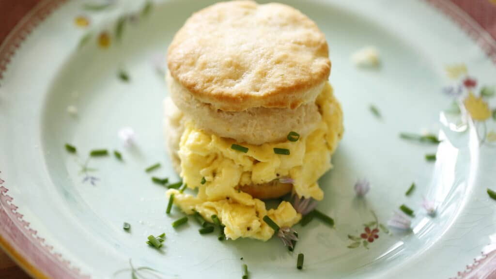 soft scrambled egg sandwich with a buttermilk biscuit on a blue plate