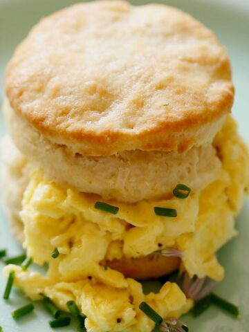 Biscuit Sandwich with soft scrambled eggs