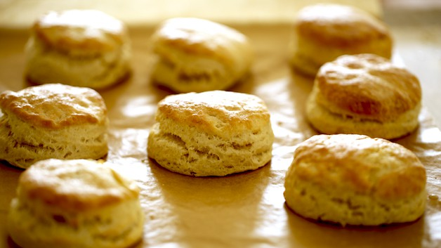 Biscuits out of the oven on a baking sheet