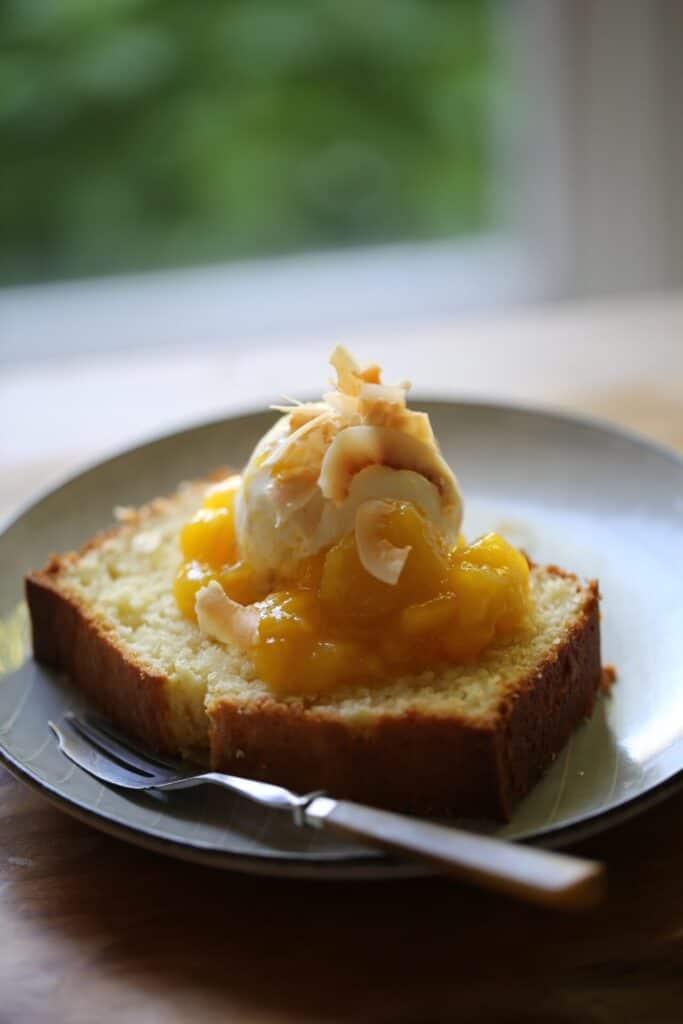 pound cake with ice cream and mango sauce