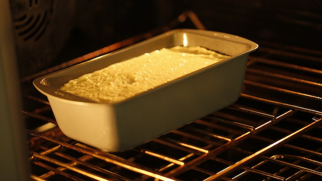 Pound cake in the oven