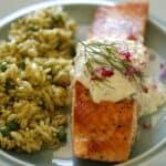 Verical Image of seared salmon with Tzatziki and Pesto Orzo Salad