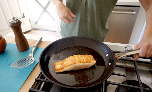 Salmon Searing in a Non Stick Pan