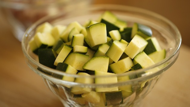 zucchini cut into chunks in a bowl