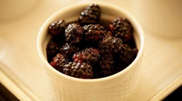 a ramekin filled with blackberries