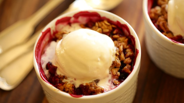 Blackberry Crumble with Ice Cream Melting on top