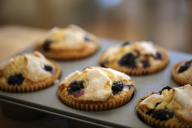 Close up of blueberry muffins in a muffin tin
