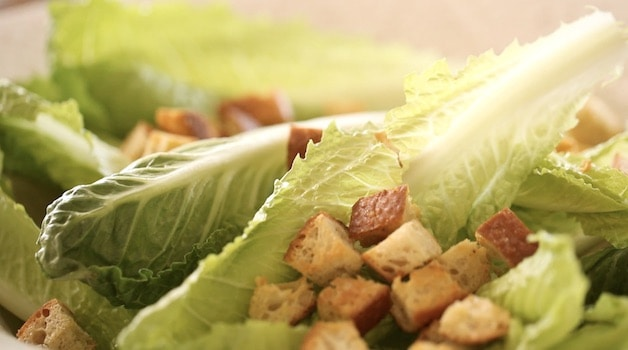 Homemade Croutons on Romaine Lettuce Leaves