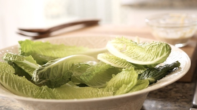 A large bowl of Romaine Lettuce Leaves