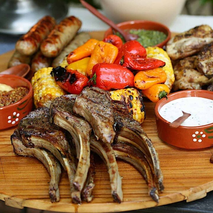 Mixed Grill on a serving board with vegetables