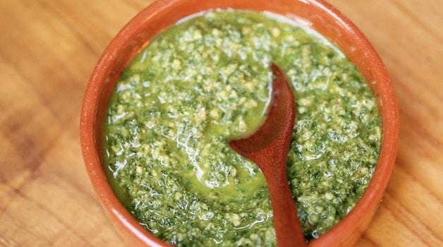 Mint Pesto in a terra cotta dish