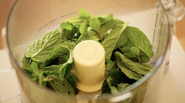 Fresh Mint in a Food Processor