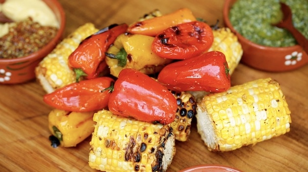 Grilled Peppers and corn on board