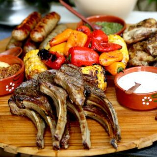 Raw Lamb chops on plate