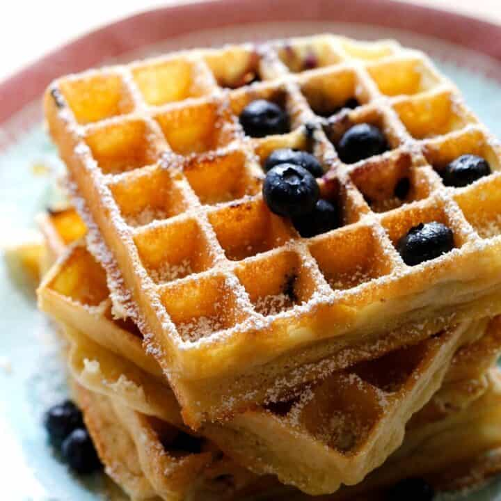 Blueberry Waffles on a light blue plate with fresh blueberries on top