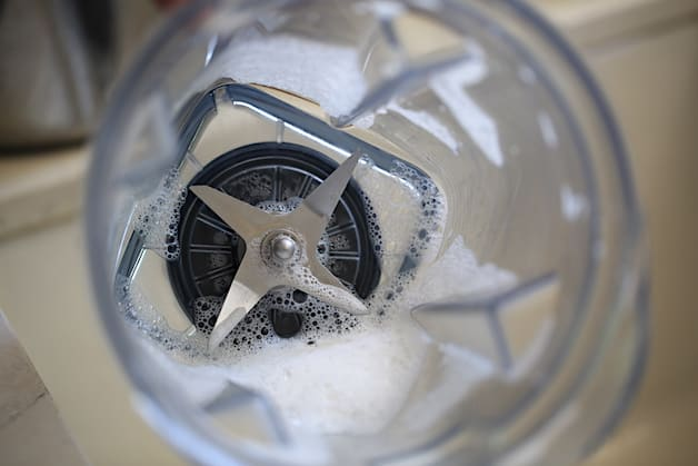 a cleaned out blender with soapy insides