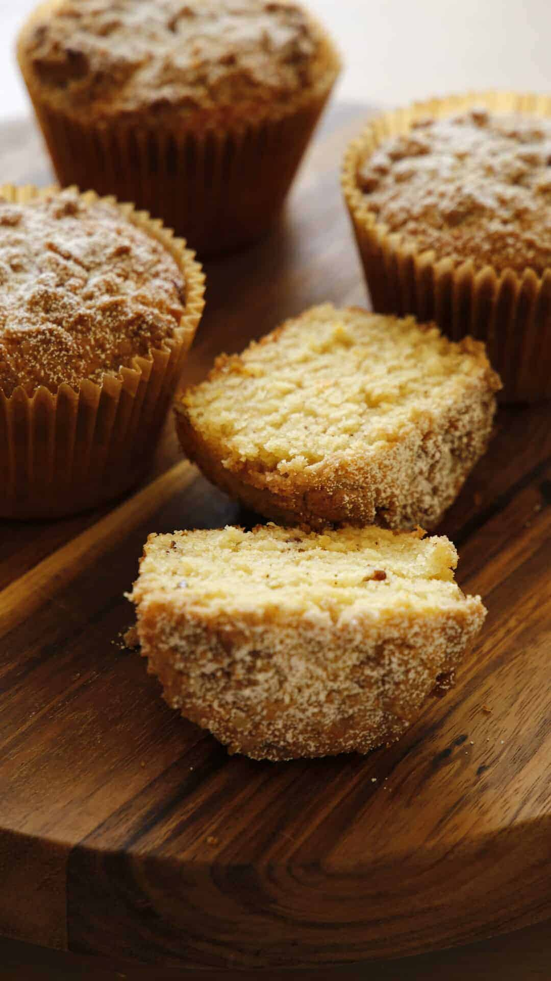Tight Shot of Crumb Muffin Open Showing Texture