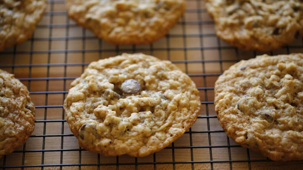 a close up of 1 oatmeal cookie cooling on a rack