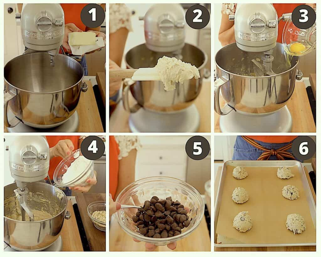 a collage of process shots for how to make a chocolate chip cookie