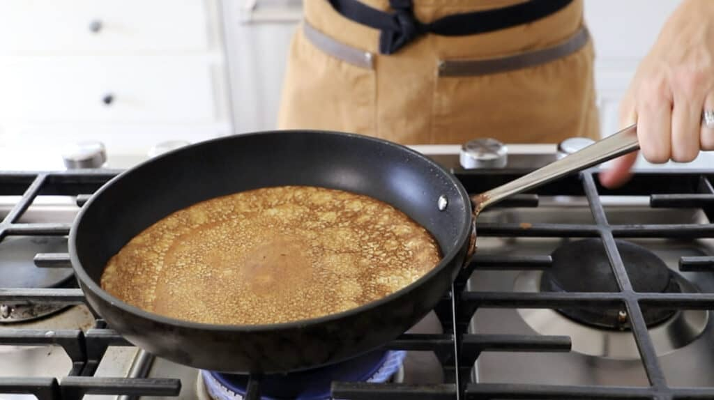 a cooked crepe in a pan
