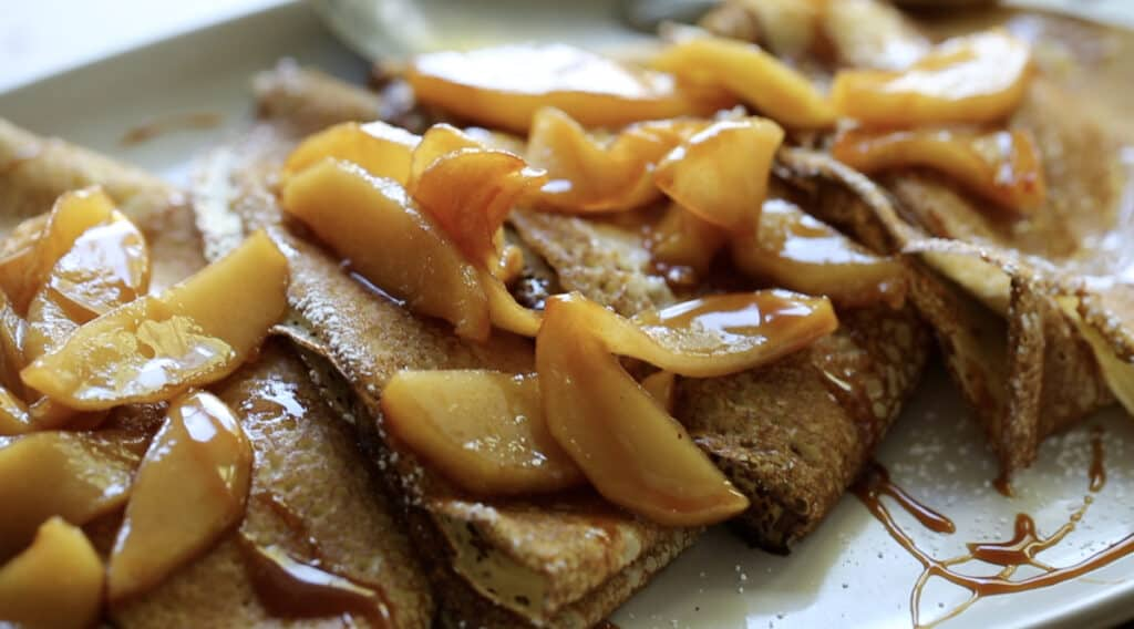 Close up Apples on crepes