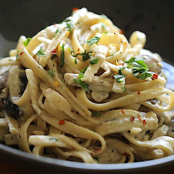 A bowl of pasta with Alfredo Sauce, Mushrooms and chicken