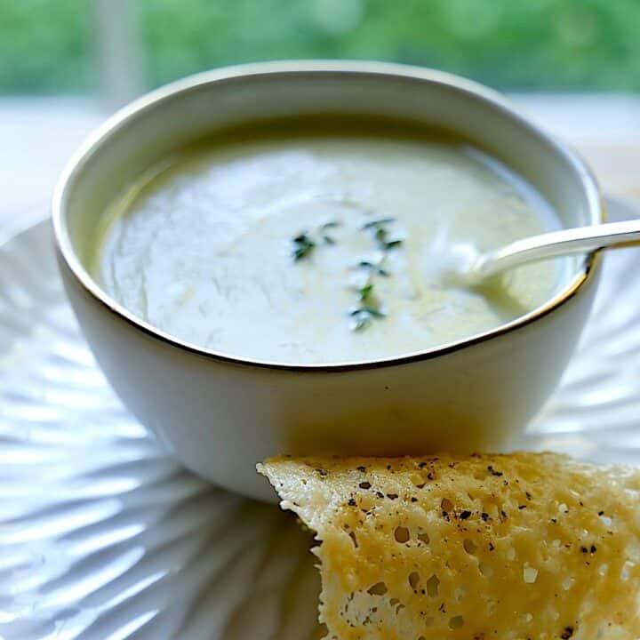 Cream of Celery Soup Recipe in white bowl