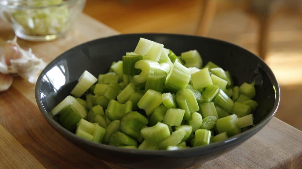 Bowl of chopped celery