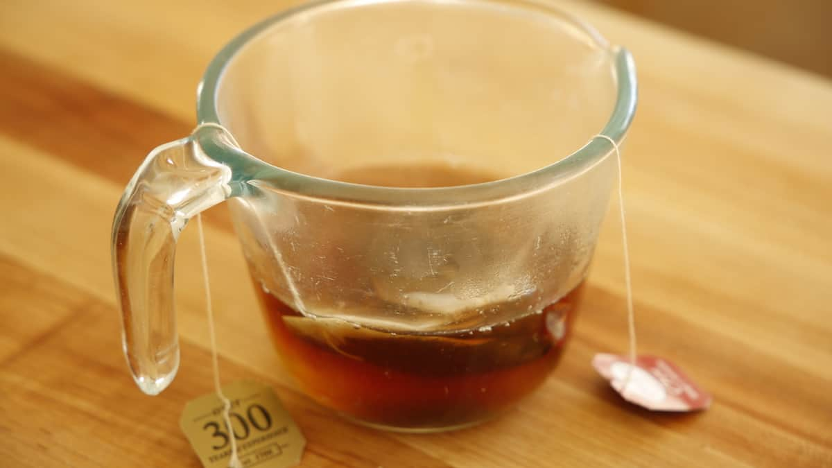 Chai Tea steeping in a pyrex pitcher