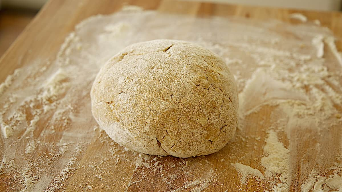 Scone dough turned into a ball on a floured surface