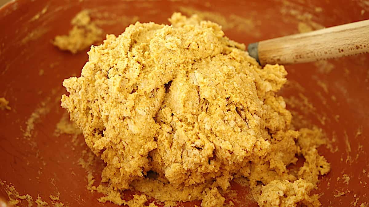 a mass of scone dough in a bowl