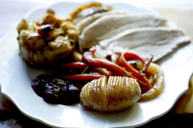 White Plate full of a Thanksgiving Dinner