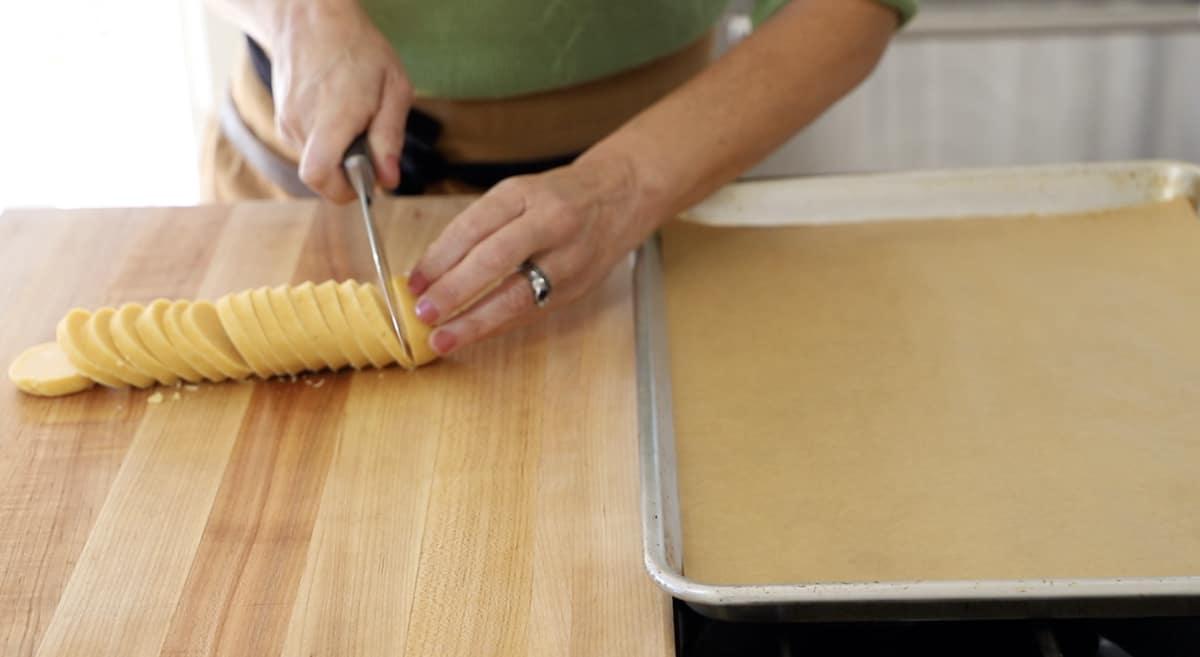 Slicing Dough Log into disks