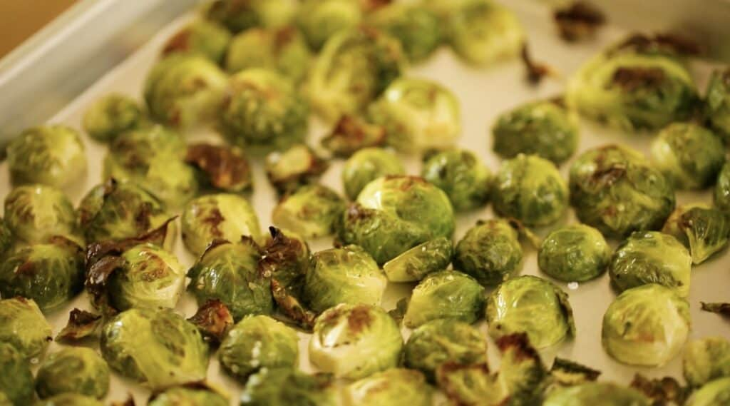 carmelized brussle sprouts on a sheet pan