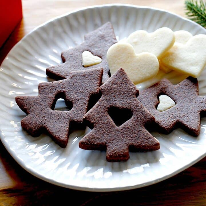 Chocolate and Vanilla Sugar Cookies on a Plate