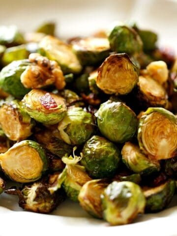Air Fryer Brussel Sprouts on a white platter