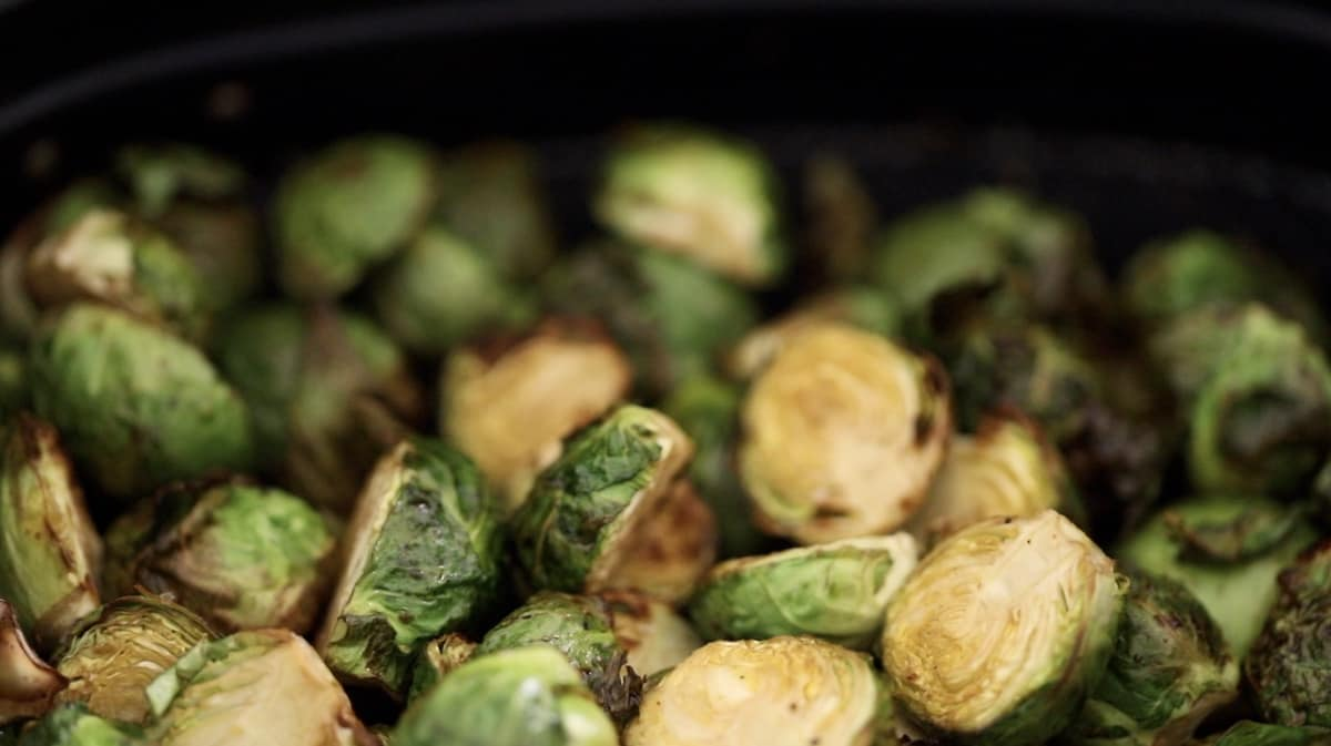 brussel sprouts in an air fryer basket