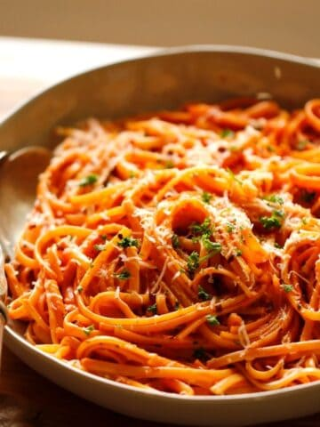Creamy Tomato Sauce with Linguine is a Large bowl with Silver Spoon
