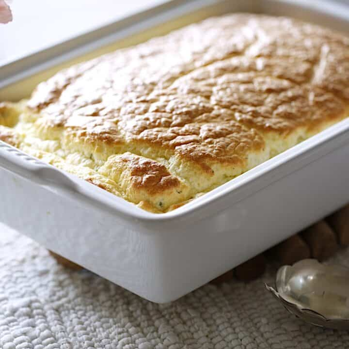 Egg Souffle in a White Casserole Dish